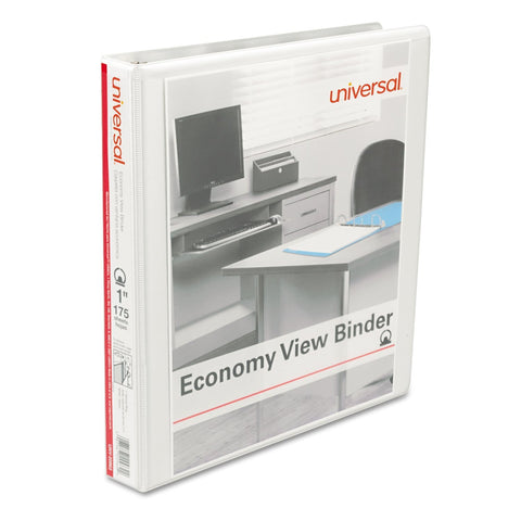Universal Round Ring Economy View Binder, 1 Capacity, White, 12/Carton (20962CT)