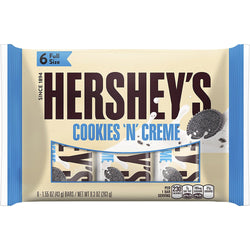 HERSHEY'S Cookies 'n' Creme Bars, 6 Count, 9.3 Ounce