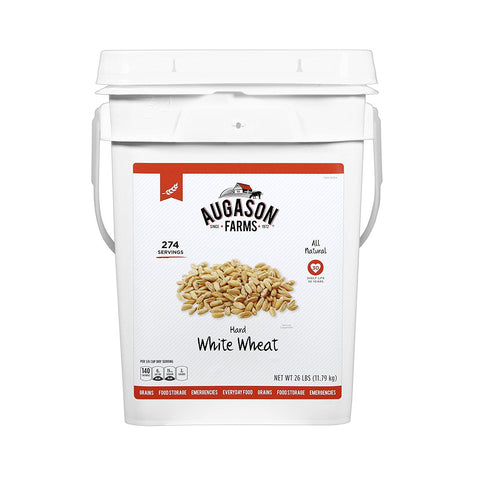 Augason Farms Hard White Wheat Pail, 26 lb