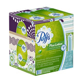 Puffs Plus Lotion Facial Tissues Family Boxes, 124-Count
