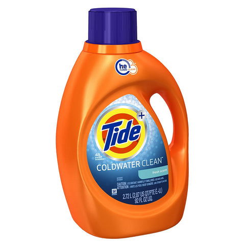 Tide Coldwater Clean High Efficiency Liquid Laundry Detergent, Fresh Scent, 92 oz