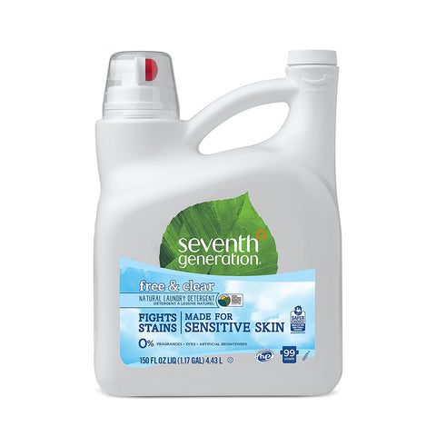 Seventh Generation Laundry Detergent, Free & Clear, 150 oz