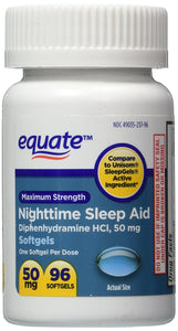 Equate - Sleep Aid 50 mg, Maximum Strength, 96 Softgels (Compare to Unisom)