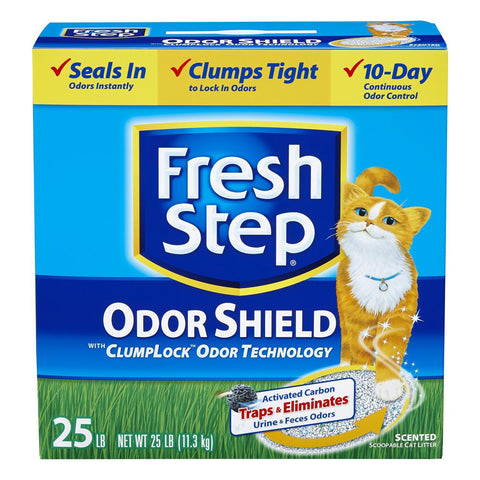 Fresh Step Cat Litter Odor Shield Scoopable, Scented, 25 Pound Carton
