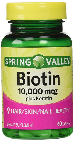 Spring Valley Biotin Dietary Supplement, 10,000 Mg With 100 Mg Keratin, 60 Tablets