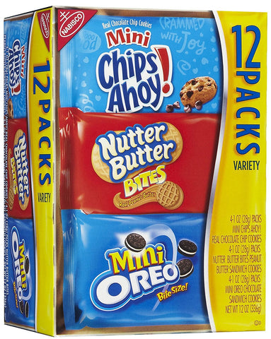 Nabisco Cookies Chips Ahoy, Nutter Butter & Oreo Minis Variety Pack 12 Ct (1 Box)