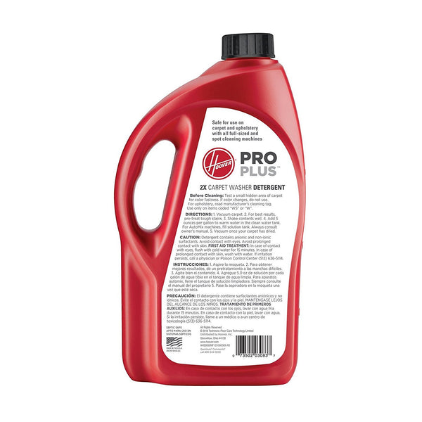 Hoover PROPLUS 2X 64oz Concentrated Professional Strength Carpet and Upholstery Cleaning  Solution - AH30050NF