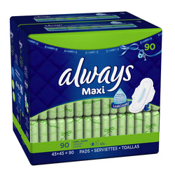 Always Maxi Long/Super With Wings, Unscented Pads 90 Count