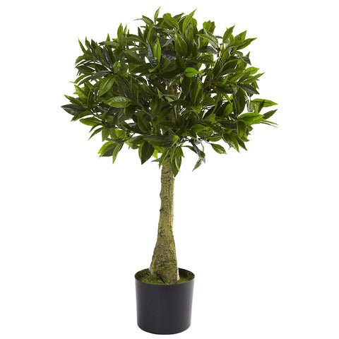 Nearly Natural 3 ft. Bay Leaf Ball Topiary