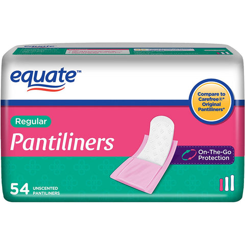 Regular Pantiliners Medium Protection Unscented 54ct By Equate, Compare to Carefree Brand
