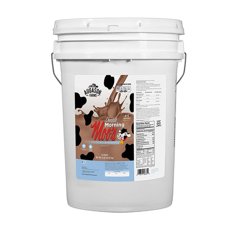 Augason Farms Morning Moo's Chocolate Low Fat Milk Alternative Pail, 32 lb