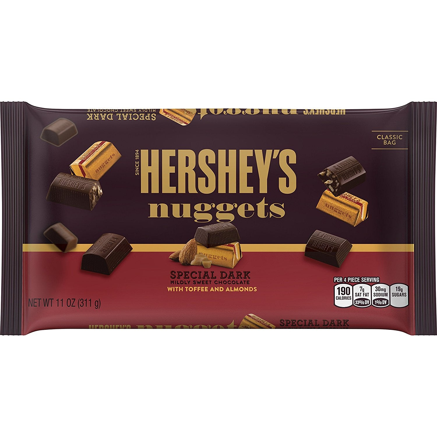 HERSHEY'S Nuggets SPECIAL DARK Mildly Sweet Chocolate with Toffee and Almonds (11-Ounce Bag)