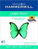 Hammermill Paper, Laser Print, 24lb, 8.5 x 11, Letter, 98 Bright, 500 Sheets/1 Ream (104604), Made in the USA