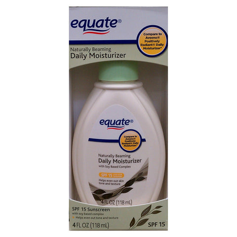 Equate Naturally Beaming Daily Moisturizer 4oz with SPF 15 Sunscreen Compare to Aveeno Positively Radiant