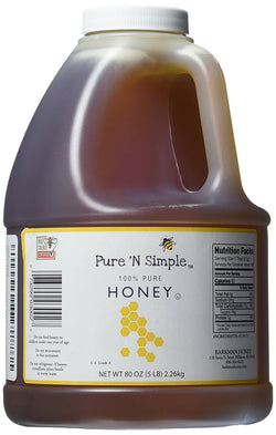 Pure N Simple 100% Pure Honey, 5 lb (80 oz) Bulk Size