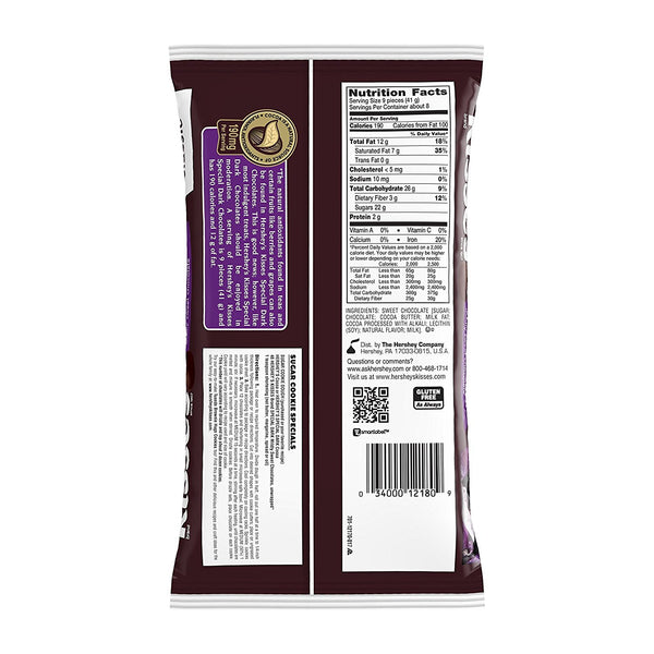 KISSES SPECIAL DARK Mildly Sweet Chocolates, 12 Ounce