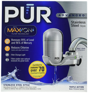 PUR Stainless Steel Style Faucet Mount & 1 Mineral Clear Filter