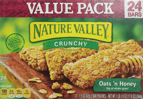 Nature Valley Oats 'N Honey, Value Pack, 0.74 oz, 24 ct