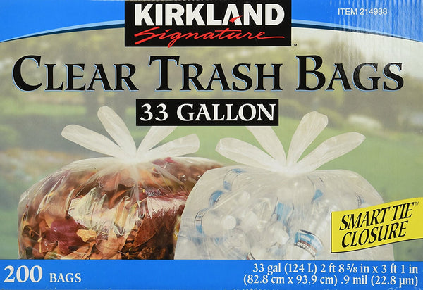 Kirkland Signature Clear Trash Bags with Smart Closure, 33 Gallon, 200 Count