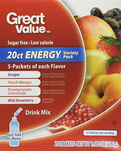 Great Value Sugar Free, Low Calorie 20 ct ENERGY Variety Pack Drink Mix