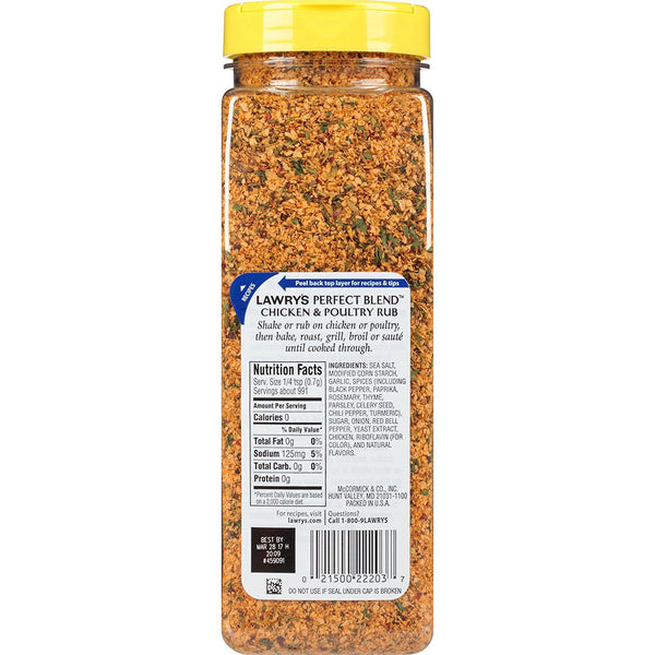 Lawry's Perfect Blend Chicken Rub And Seasoning, 24.5 oz