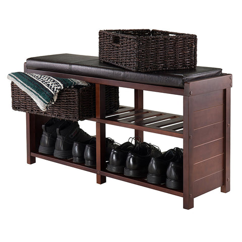Winsome Colin Cushion Bench with Baskets