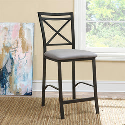 Dorel Living Devon Crossback Counter Height Padded Metal Dining Chair, Black Coffee