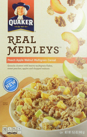 Quaker Real Medleys Cereal, Peach Apple, 15.5 Ounce