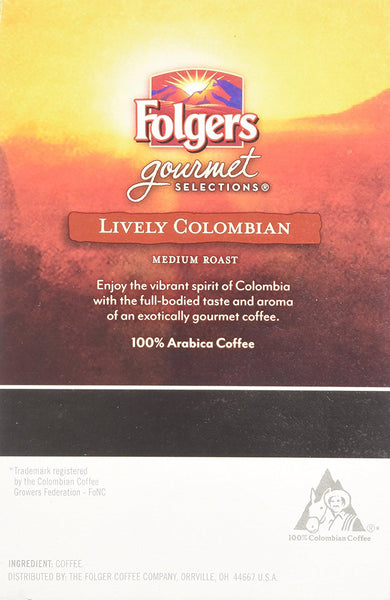 Folgers Gormet Selections K-Cup Lively Columbian Medium Roast 18 Count