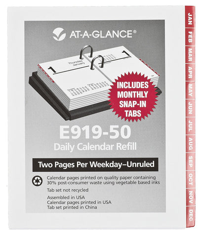 AT-A-GLANCE 2015 Compact Desk Calendar with Tabs Refill, 2 7/8 x 3 3/4 Inches (E919-50)