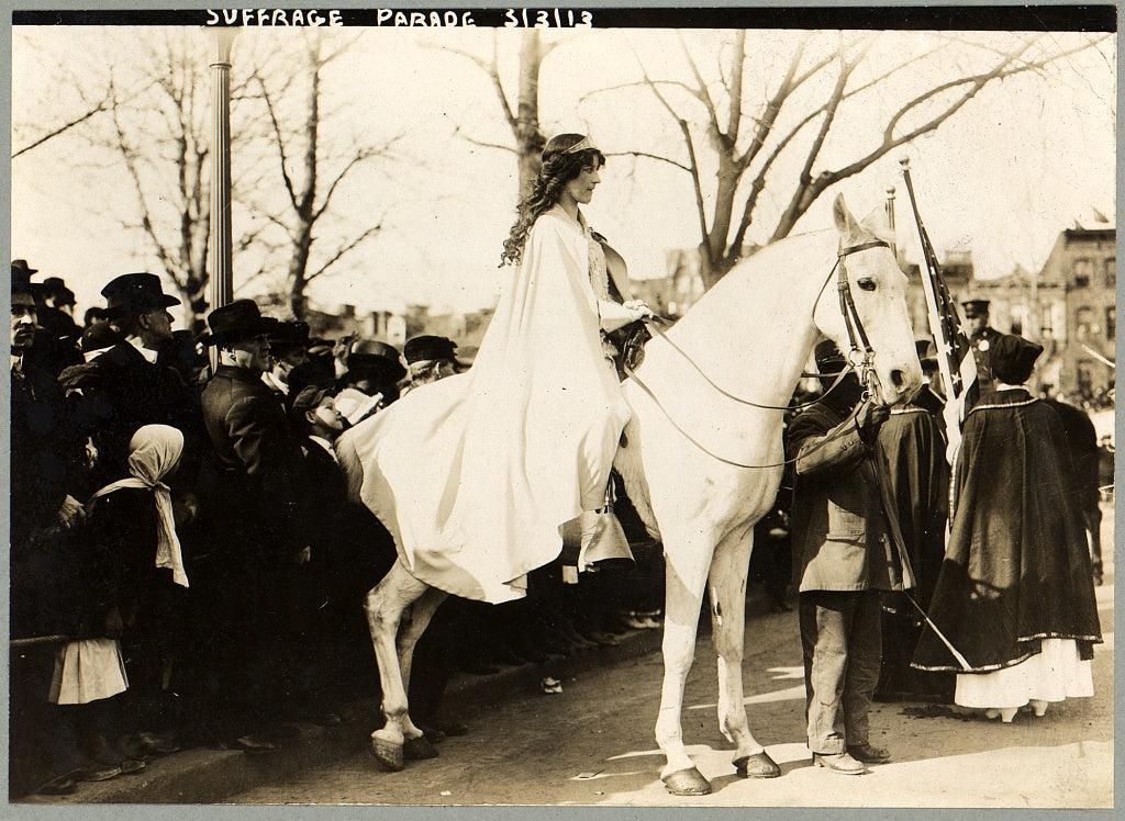 8 x 10 Photo of Inez Milholland Boissevain, wearing white cape, seated on white horse at the National American Woman Suffrage Association parade, March 3, 1913, Washington, 1913 G. Bain Collection 07a