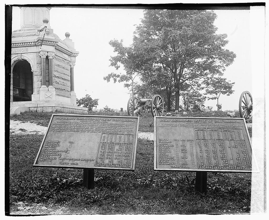 8 x 10 Reprinted Old Photo of [Markers showing number of casualties during the Battle of Chattanooga at Chickamauga and Chattanooga National Military Park] 1919 National Photo Co  76a