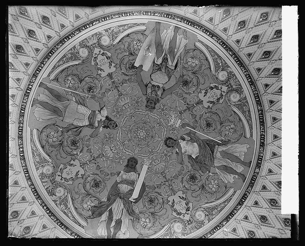 16 x 20 Reprinted Old Photo ofCeiling, Library [of Congress, Thomas Jefferson Building, second floor, southwest pavilion of the Discoverers showing mural by George W. Mayna 1919 National Photo Co  26a