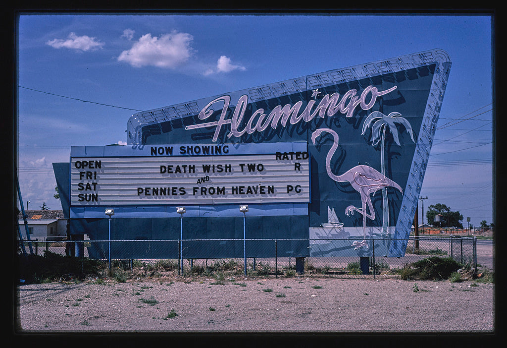 8 x 12 Photo of Flamingo Drive-In Theater sign, Dal Passo Road, Hobbs, New Mexico 1982 Margolies, John 83a