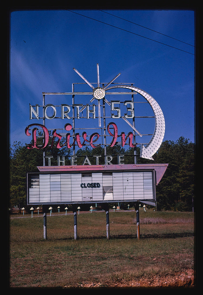 8 x 12 Photo of  North 53 Drive-In Theater sign, Route 53, Rome, Georgia  1980 Margolies, John 69a
