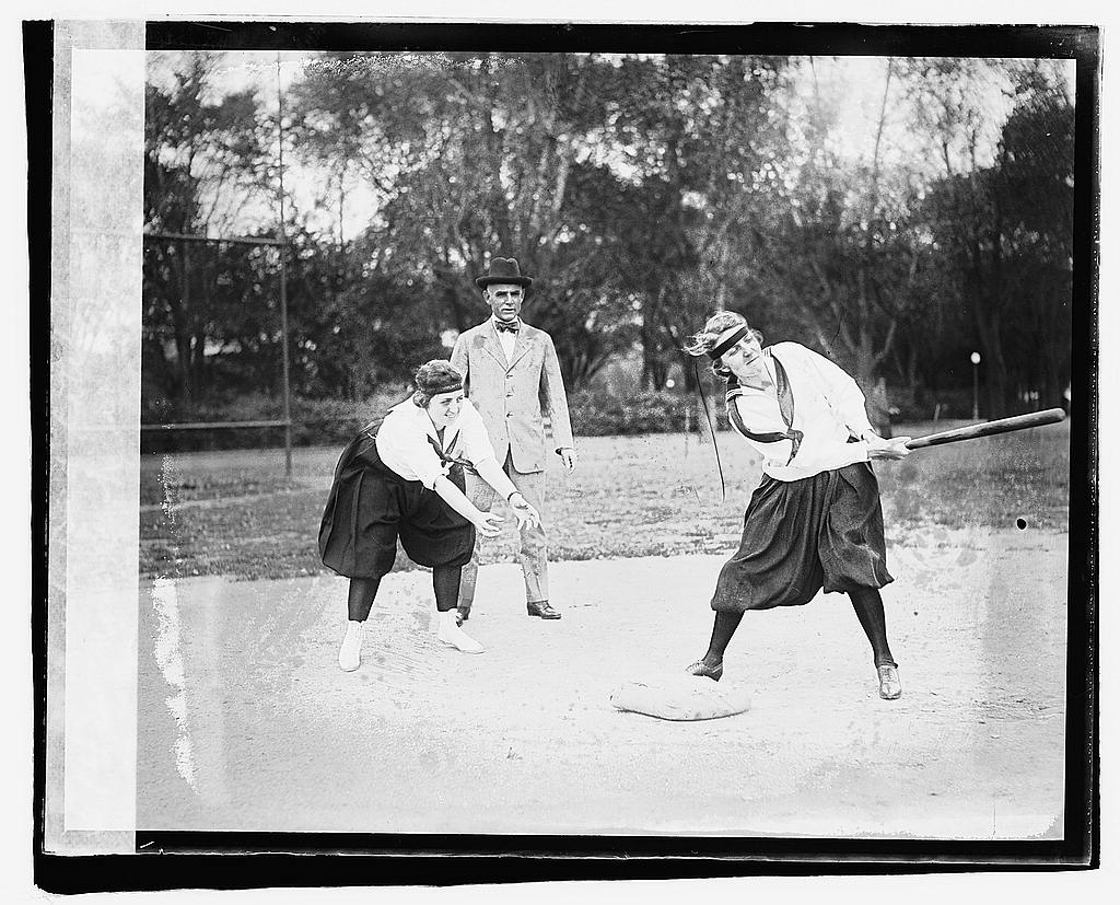 16 x 20 Gallery Wrapped Frame Art Canvas Print of Lucile Boyd catching; Mary Cook at bat 1919 National Photo Co  30a