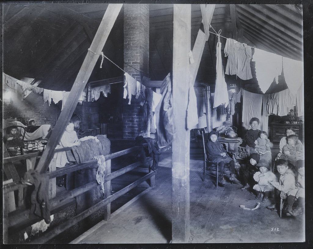 16 x 20 Gallery Wrapped Frame Art Canvas Print of Family in an attic home with drying laundry 1905 Detriot Publishing co.  83a