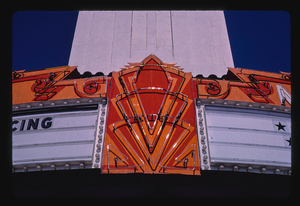 8 x 12 Photo of Merced Theater, marquee neon detail, Main Street, Merced, California 1987 Margolies, John 48a