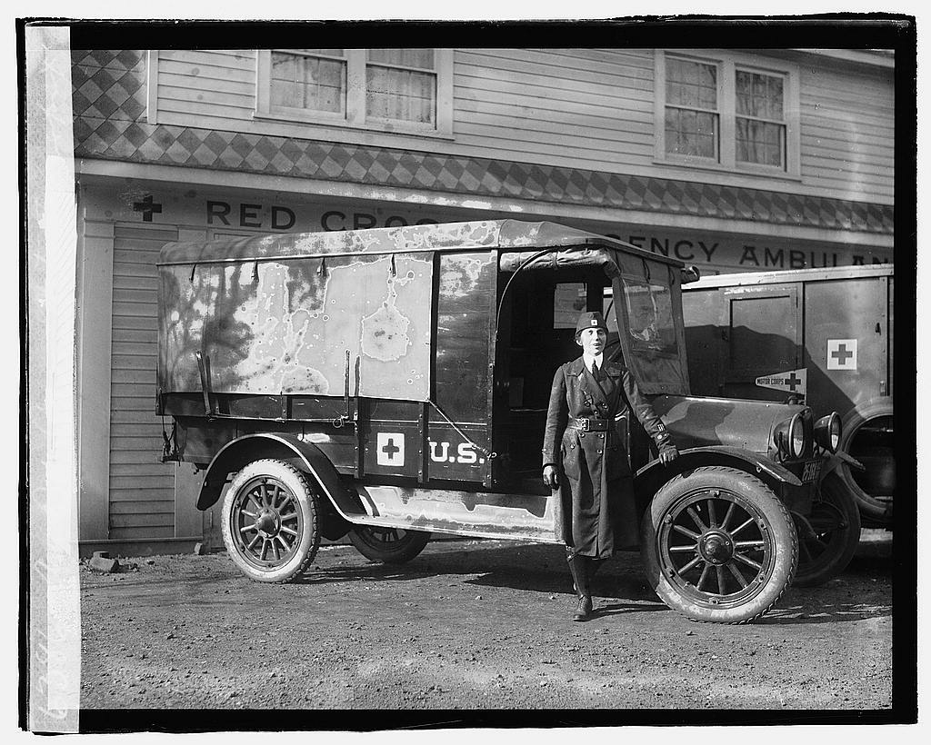 16 x 20 Reprinted Old Photo ofAm. Red Cross motor transport 1919 National Photo Co  84a