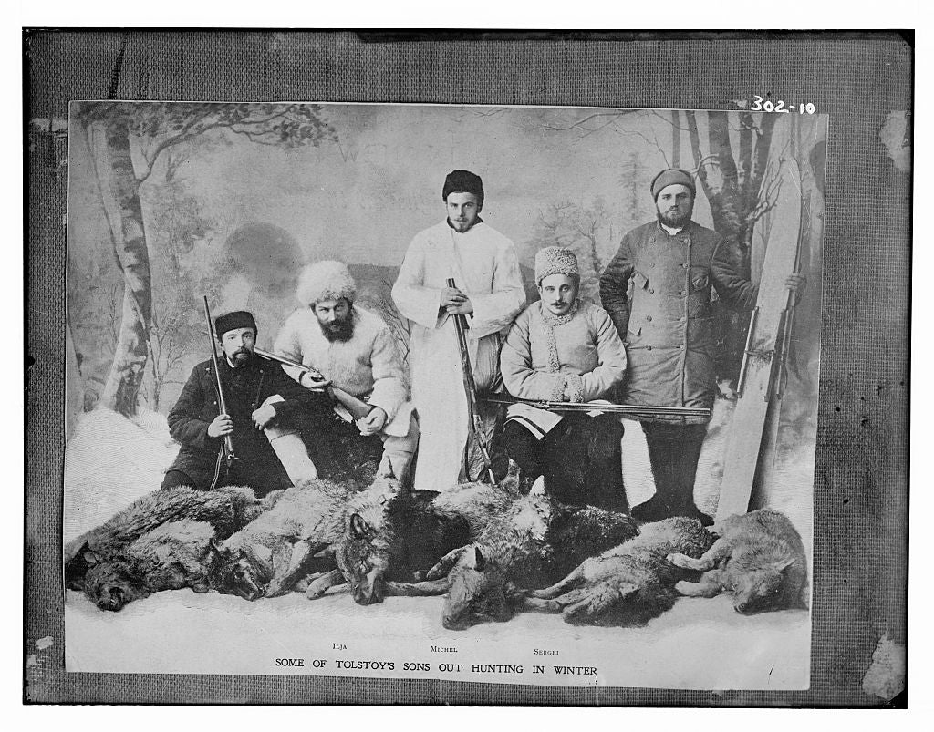 8 x 10 Photo of Some of Tolstoy's sons out hunting in winter: Ilja, Michel, Sergei 1890-1920 G. Bain Collection 39a