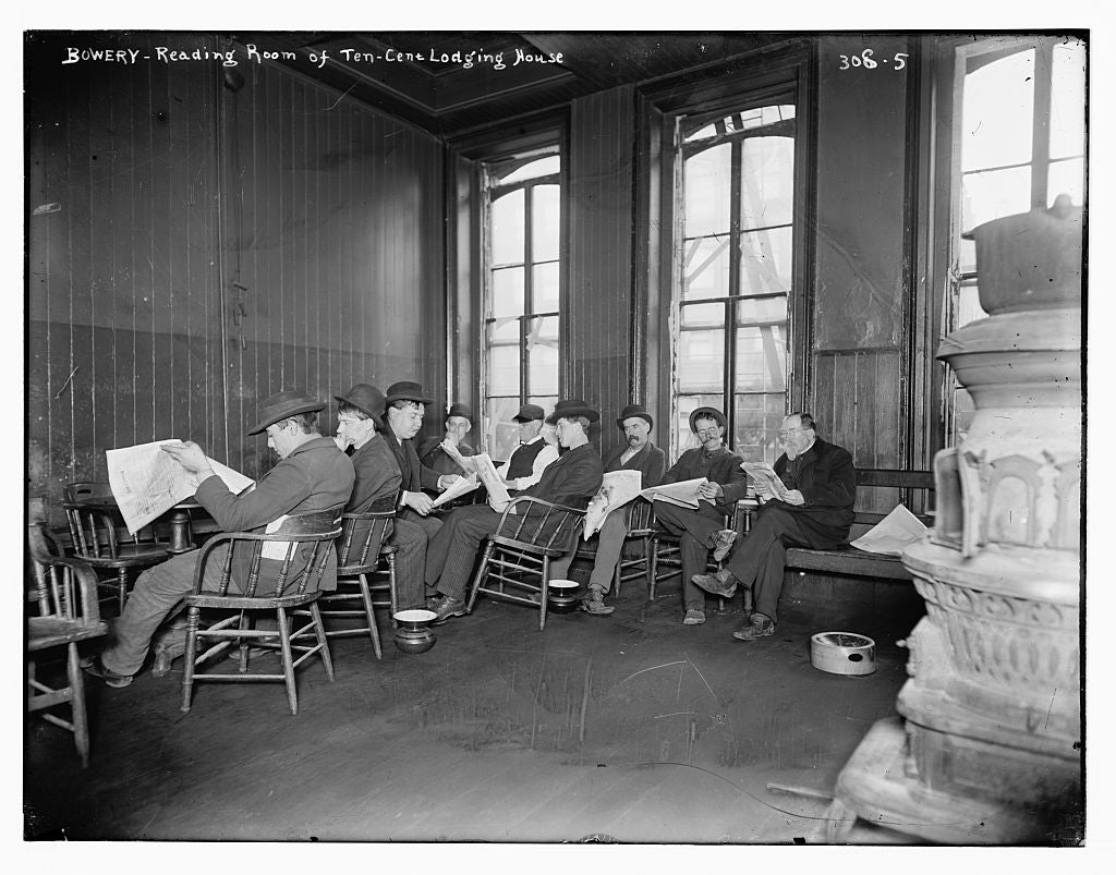 8 x 10 Photo of Bowery: Reading room of 10 cent Lodging House 1890-1920 G. Bain Collection 75a