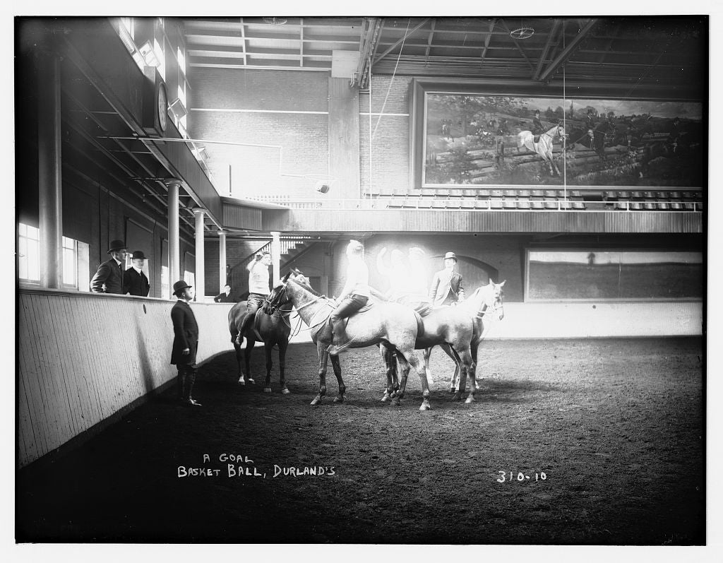 8 x 10 Photo of Basketball, Durland's: A goal, played on horses 1890-1920 G. Bain Collection 97a