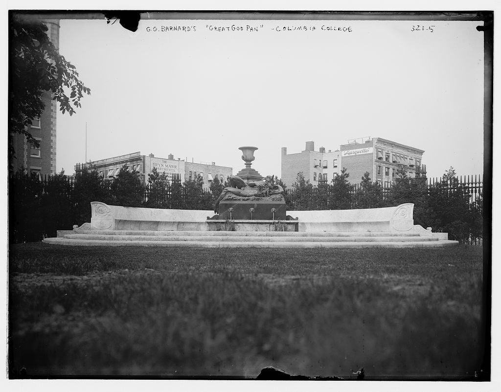 "8 x 10 Photo of G.G. Barnard's ""Great God Pan"" statue, Columbia College 1890-1920 G. Bain Collection 67a"