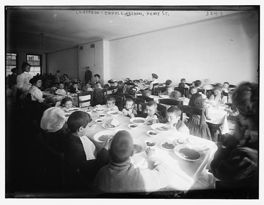 8 x 10 Photo of Lunch Time at the Crippled Children's School, Henry St. 1890-1920 G. Bain Collection 87a