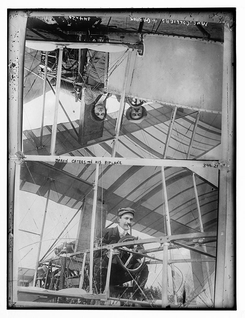 8 x 10 Photo of Baron Caters in his biplane 1890-1920 G. Bain Collection 87a