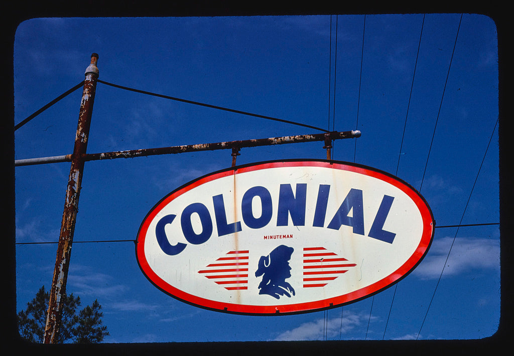 8 x 12 Photo of Colonial Gasoline sign (Minuteman), detail, Route 17, Waverly, Georgia 1979 Margolies, John 92a