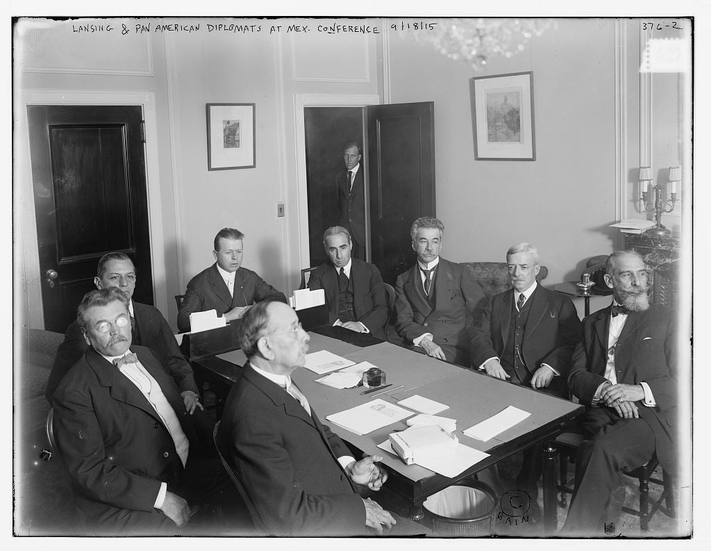 8 x 10 Photo of American Diplomats in Mex. Conf.: Calderon, Mendez, Secy. Sweet, Naon, Da Gama, Lansing, Suarex, De Pena 1890-1920 G. Bain Collection 75a