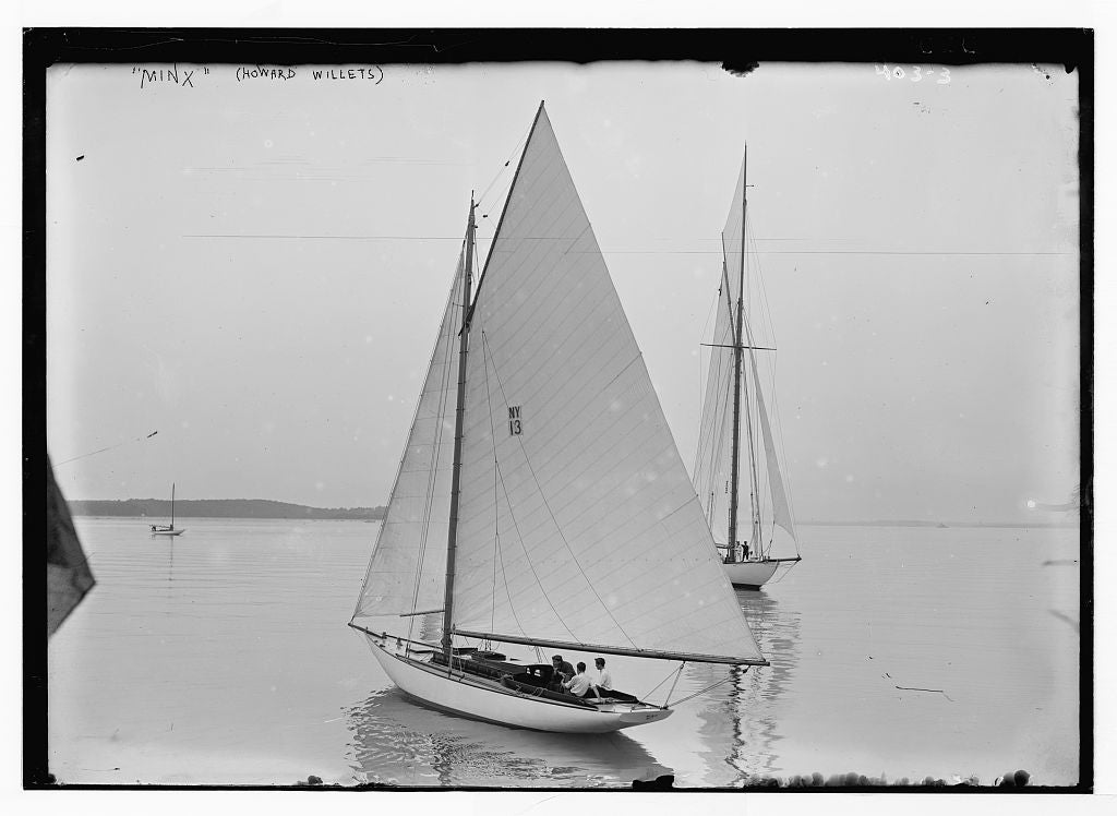 8 x 10 Photo of Minx: sailboat of Howard Willets 1890-1920 G. Bain Collection 24a