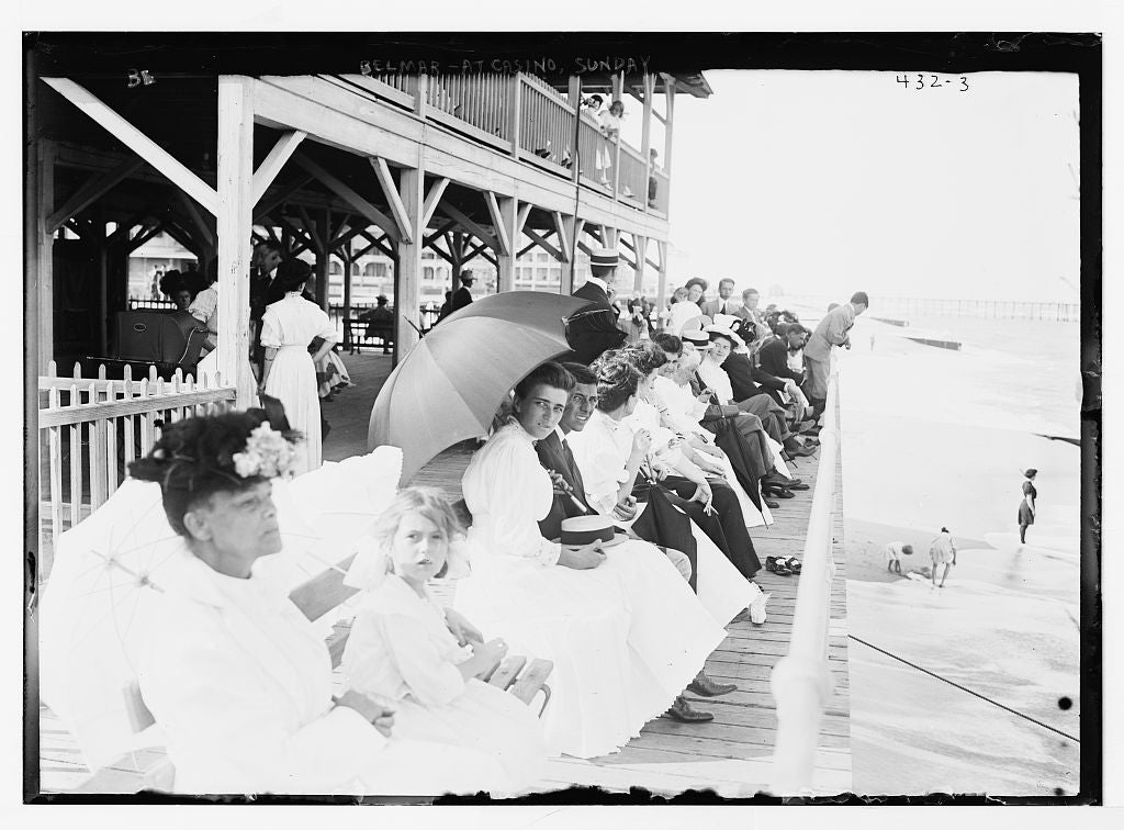 8 x 10 Photo of On benches at Casino, overlooking beach, on Sunday, Belmar 1890-1920 G. Bain Collection 60a