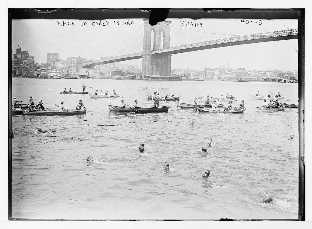 8 x 10 Photo of Swimming race to Coney Island, life boats and swimmers, New York 1890-1920 G. Bain Collection 66a